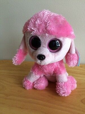 """TY Beanie Boos PRINCESS PINK POODLE 6"""" SOLID EYES RETIRED Boo Plush"""