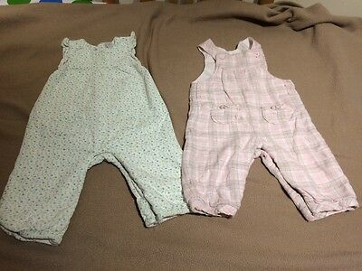2 Baby Girls Dungaree Outfits 3-6 Months