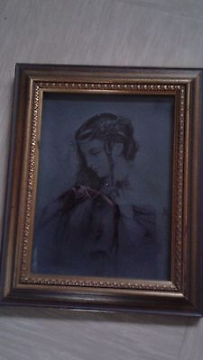 vintage picture engraving etching on glass signed D Allen