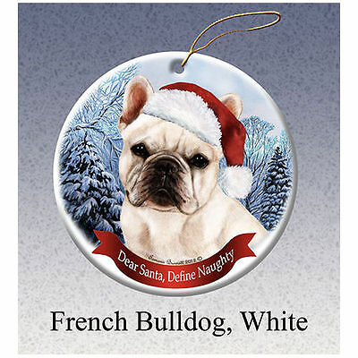 French Bulldog White Howliday Porcelain China Dog Christmas Ornament