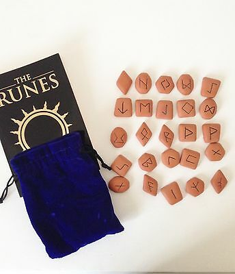 Terracotta Rune Stones With Blue Velvet Pouch With Book By Horik Svensson