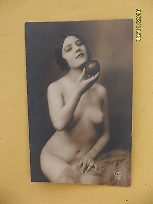 Original French 1910's - 1920's Nude Risque postcard Sexy Woman Holds Apple #129