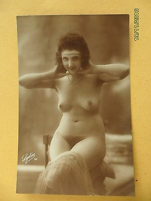 Original 1910's-1920's Postcard Nude Risque Erotic Lady Sexy Full Front #134