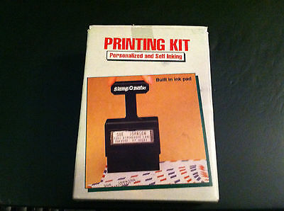 Vintage Stamp O Matic Personalized Self Inking Printing Kit complete
