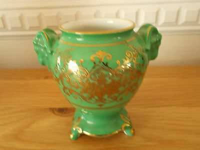 Noritake Green Vase With Ram Head Handles