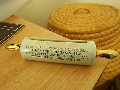 Ceramic Rolling Pin With Humorous Rhyme 16Cm Long