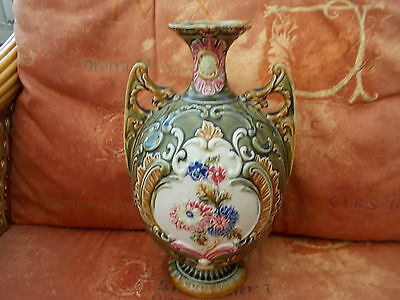 Antique Majolica Two Handled Vase Floral Transfer Ware No 313 To Base