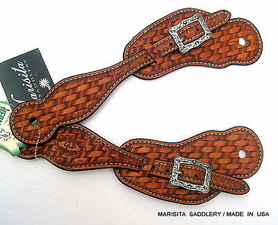Hand Tooled Hermann Oak Leather Spur Straps-Jeremiah Watt Stainless Buckles-Usa