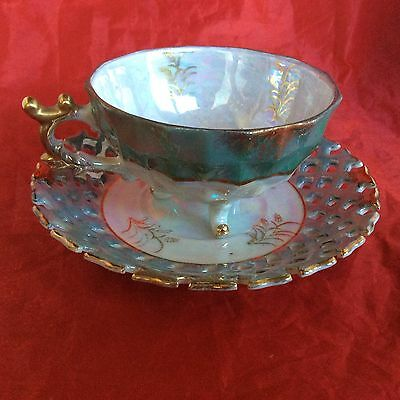 Vintage Sterling China Japan Teacup & Saucer, Lustreware, Blue & White, Footed
