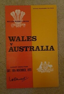 wales v Australia 1973 rugby union programme