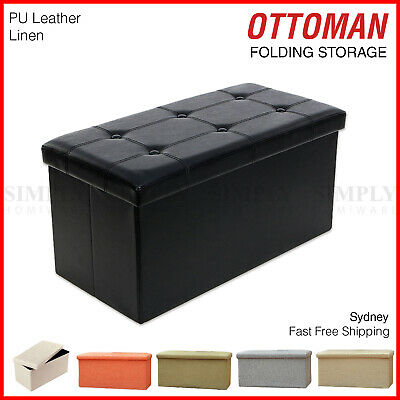 Folding Ottoman Storage Blanket Box Footstool Stool Cube Pouf Faux Leather Linen
