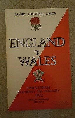 England v wales 1972 rugby union programme