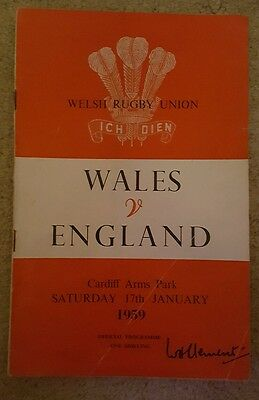 wales v England 1959 rugby union programme