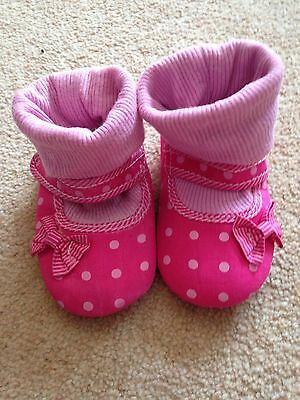 Baby Girls Pink Polka Dot Shoes 12-18 Months