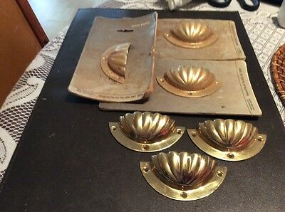 6 Solid Brass Pull Handles Vintage Style