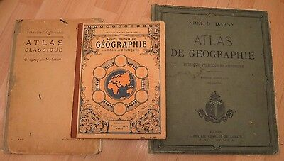 Three French Atlas books old circa 1900