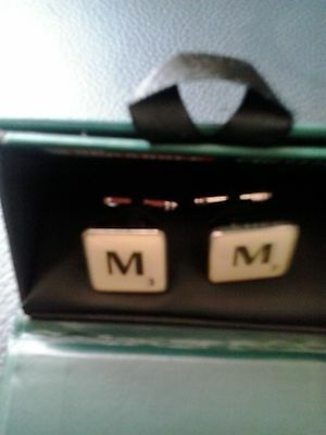 scrabble enamel cuff links with the initial  m