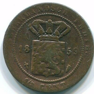 1859 1/2 Cent  Netherlands Indies  Copper Colonial Coin S13110