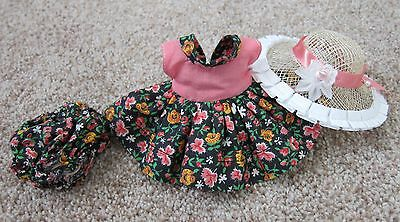 1950's Cosmopolitan Ginger Doll Clothes~PINK & BLACK FLORAL TAGGED DRESS  w/Hat