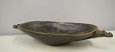 Papua New Guinea Alligator Handles Wood Incised Feasting Ceremonial Bowl