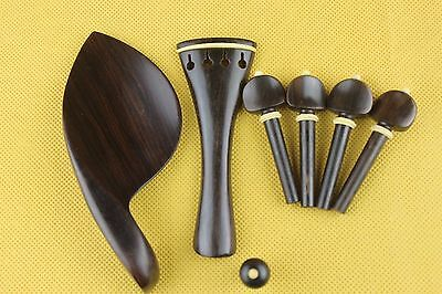 New high quality undyed ebony violin parts 4/4, pegs, tailpiece, chinrest endpin