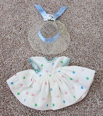 1950's Cosmopolitan Ginger Doll Clothes~WHITE PRINT TAGGED DRESS w/Hat~EVC