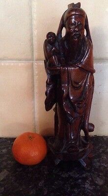 Chinese Hand Carved Immortal Rose Wood Carving