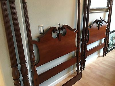 Two Mid-1800's Chippendale Cherry Twin Poster Beds