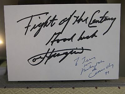 Muhammad Ali INSCRIBED Cassius Clay & Frazier autographed signed index card