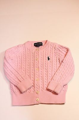 Girls Ralph Lauren Polo, cable knit pink cardigan sweater 18m!