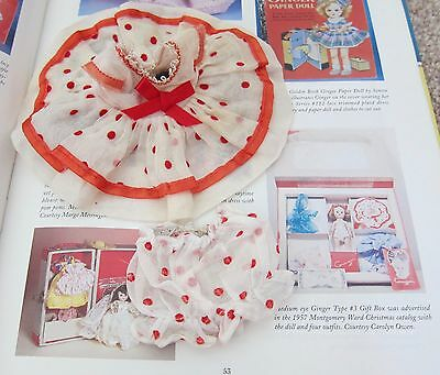 1950's Cosmopolitan Ginger Doll Clothes~WHITE w/RED DOTS TAGGED DRESS  w/Hat~EVC