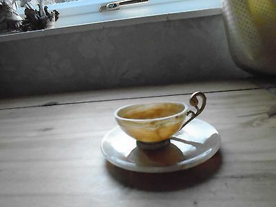Vintage Onyx Cup And Saucer In Good Condition