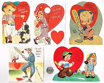 Valentine's Day Cards Baseball Lot #3 – 5 Cards