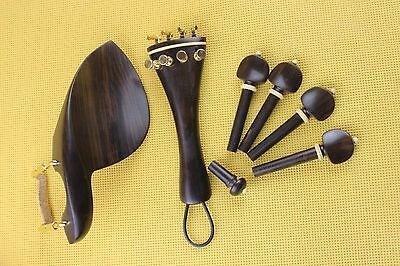 1 set new undyed ebony violin parts 4/4, chinrest, tailpiece, pegs, endpin