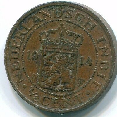 1914 1/2 Cent  Netherlands Indies  Bronze Colonial Coin S13072