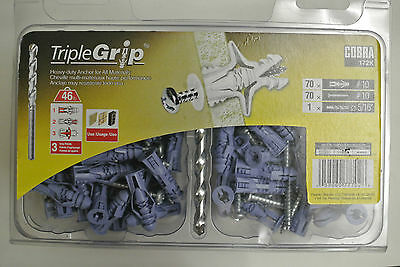 TripleGrip cobra 172k 70 pack #10 wall anchors, screws, & 5/16 bit