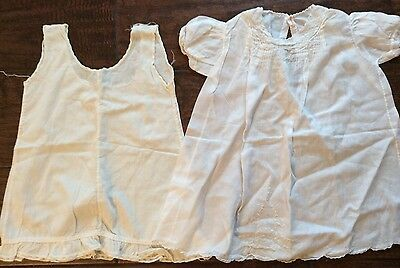 Vintage Handmade Childs Dress W/ Under Slip Very Intricate Trimming