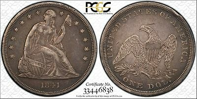 1841 P Silver Seated Liberty Dollar ($1), PCGS XF Details