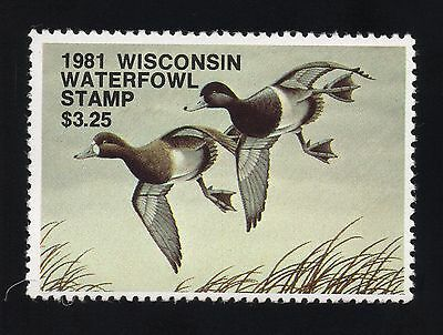 Wisconsin # 4, used, F, $3.25 State Duck Stamp, 1981, No Faults!
