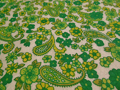 Vintage 70's White Green Yellow Floral Paisley Cotton Flannelette Shirt Fabric.