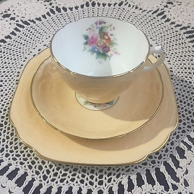 Coalport Sevres Embossed Soft Yellow Trio Cup Saucer Plate
