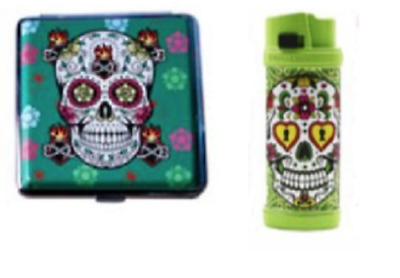 Candy Skull Green Oil Lighter and Ash Tray Gift Pack