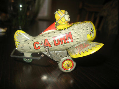 Rare Vintage G-A DHM tin Wind Up Litho Acrobatic Airplane Tin Toy , Japan lot