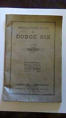1935 Dodge Car Owners Manual DU Owner Instruction Guide Book 35 Second Edition