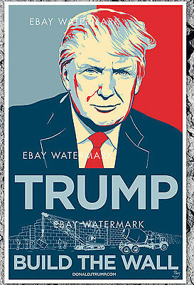 RARE Donald Trump Build The Wall 2016 Official Campaign Poster 11x17 Poppy