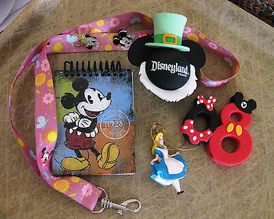 Disney Mixed Lot 6 Items New & Used! Lanyard, Pins, Alice, 2 Toppers