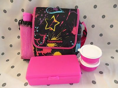 Tupperware Neon PInk 5 Piece Lunch Set with Bottle & Insulated Bag New