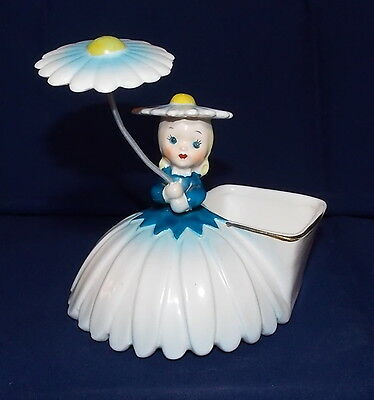 Vintage Napco Flower Girl of the Month Planter with Parasol Blue/White Daisy