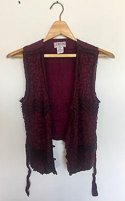 VINTAGE Silk Embellished Beaded Maroon Vest Waistcoat Size S button up