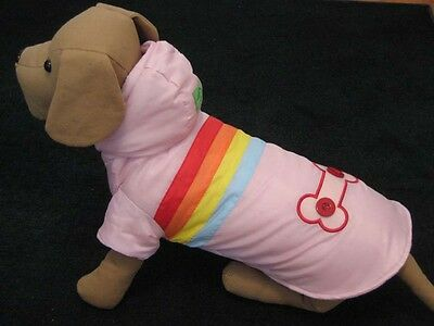 Wholesale lot Dog rainbow stripe polyfill jackets,coats,pink,size XS,S,M,18pcs